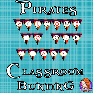 Pirate Themed Classroom Bunting This download includes fun pirate themed classroom bunting. These are great for teachers and kids to have a pirate room and add extra pirate to your room. #classroomthemes #teachingideas #pirateclassroom