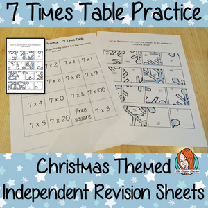 Christmas Themed Independent Multiplication Revision Sheets 7x No Prep independent revision activity for the seven times tables. Children have to cut out and stick the correct answer to the question square, when the correct squares are all in place a christmas themed picture will be revealed. #teachmultiplication #revisemultiplication #seventimestables #noprep #mathsworksheets