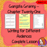Complete Lesson on Writing for Different Audiences  Gangsta Granny by David Walliams a complete, English lesson on the 21st chapter of the book Gangsta Granny. The lesson focuses on how to write for different audiences. Children will read and discuss the chapter. The class will write recounts for different audiences together and then the children will use writing frames and cloze sheets to create their own recounts. #lessonplans #bookstudy #teachingideas #readingactivities