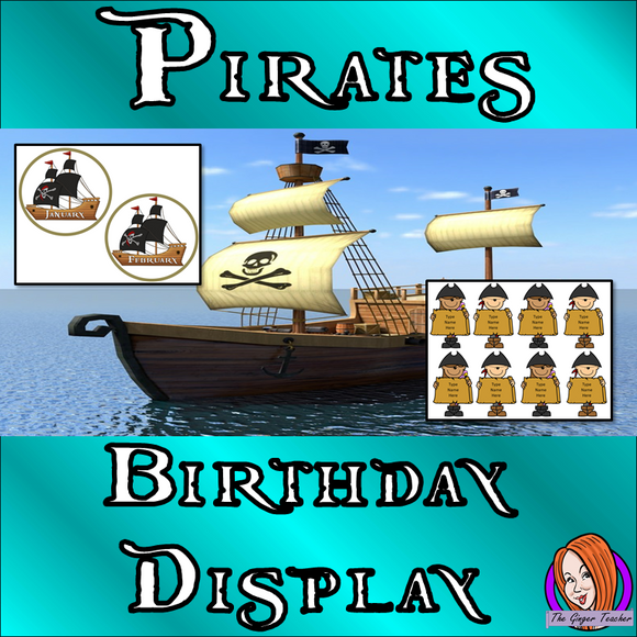 Pirate Class Birthday Display  This download includes fun pirate themed class birthday display for your classroom. These are great for teachers and kids to have a pirate room and celebrate everyone's birthday.  This download includes: - 12 pirate ship months - Editable Pirate name cards  - Class birthday banner - Instructions  #classroomthemes #teachingideas #pirateclassroom