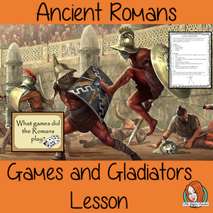 Ancient Roman Games and Gladiators Complete History Lesson Teach children about Ancient Roman Games. resources lesson to teach children about the types of games why they were important and the life of gladiators. 37 slide PowerPoint and 4 versions of the 8-page worksheet to show their understanding, along with an activity to write instructions for becoming a Roman gladiator. #lessonplanning #ancientromans #romans #teaching #resources #historylessons #historyplanning