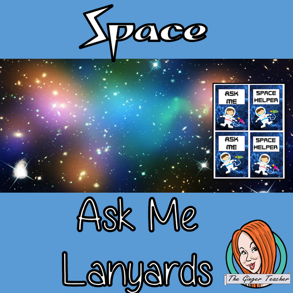 Space classroom Themed 'Ask Me'/ Helper Lanyards This download includes a fun space lanyard for your classroom helpers. These are great for kids to help their teacher and classmates when they finish their work This download includes: - Ask me and space helper lanyard cards - Full instructions #classroomthemes #teachingideas #spaceclassroom