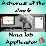 Astronaut of the Day Certificate and NASA Job Application This download includes a fun astronaut of the day certificate to reward hard working students and NASA Job Application to describe themselves or a fictional astronaut. These are great to complete your outer space themed classroom. #classroomthemes #teachingideas #spaceclassroom #outerspace #outerspaceclassroom