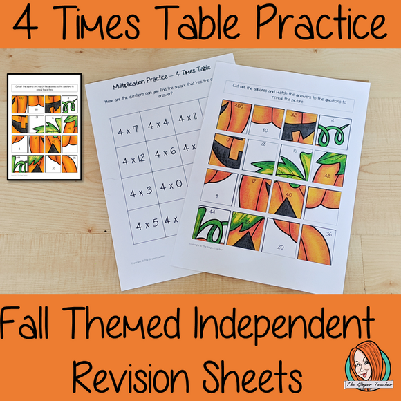 Fall Themed Independent Multiplication Revision Sheets 4x No Prep independent revision activity for the four times tables. Children have to cut out and stick the correct answer to the question square, when the correct squares are all in place a fall themed picture will be revealed. #teachmultiplication #revisemultiplication #fourtimestables #noprep #mathsworksheets