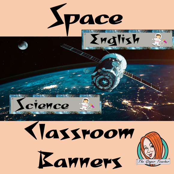 Outer Space Themed Classroom Banners  This download includes 3 fun space themed subject banners: English, Science and Mathematics (includes Math, Maths and Mathematics). These are great to complete your outer space themed classroom. #classroomthemes #teachingideas #spaceclassroom