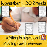 November Writing Prompts and Reading Comprehension Sheets 30 page collection of worksheets gives a writing prompt for November. Sheets have information about the day comprehension questions writing prompts and keywords for writing and discussion worksheets are great to encourage children to think important issues which need awareness such as Epilepsy awareness month and also fun days such as Red Planet Day #teaching #november #winter #awareness #pshe #lessons #classroom #kids #children