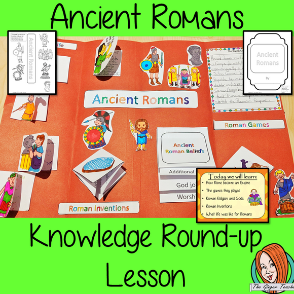 Ancient Roman Complete History Lesson A lesson for children about the Ancient Romans. Learn about games, inventions, daily Roman life, the Emperors, gods, and the Roman Empire. There are two detailed PowerPoints to teach understanding. Kids create an information board using fun foldables and information sheets. Everything needed for this classroom lesson is included #lessonplanning #ancientRomans #Romans #teaching #resources #historylessons #historyplanning