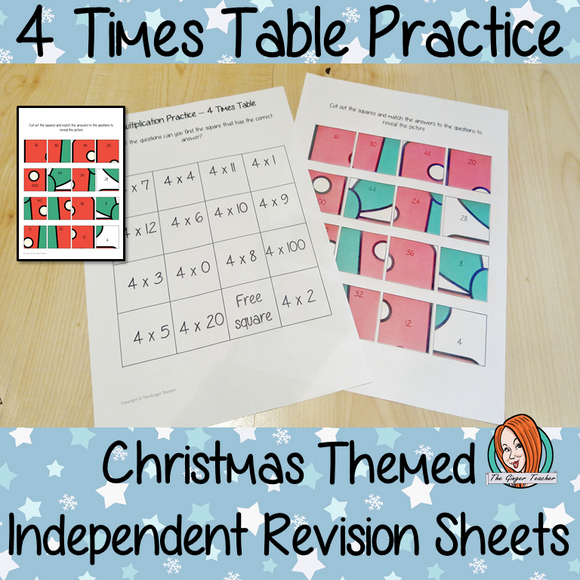 Christmas Themed Independent Multiplication Revision Sheets 4x No Prep independent revision activity for the four times tables. Children have to cut out and stick the correct answer to the question square, when the correct squares are all in place a christmas themed picture will be revealed. #teachmultiplication #revisemultiplication #fourtimestables #noprep #mathsworksheets
