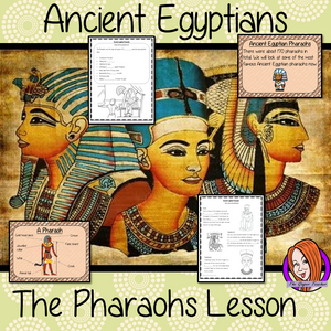 Ancient Egyptian Pharaohs History Lesson resources to teach children about the life of pharaohs in Ancient Egypt.  Children learn about pharaohs, duties they had and why they were important. Some of the pharaohs and Tutankhamun explained A detailed 44 slide PowerPoint and 4 versions of the 8-page worksheet to allow children to show understanding, along with activity to write an explanation text #lessonplanning #ancientegyptians #egyptians #teaching #resources #historylessons #historyplanning