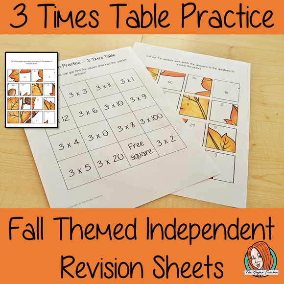 Fall Themed Independent Multiplication Revision Sheets 3x No Prep independent revision activity for the three times tables. Children have to cut out and stick the correct answer to the question square, when the correct squares are all in place a fall themed picture will be revealed. #teachmultiplication #revisemultiplication #fourtimestables #noprep #mathsworksheets