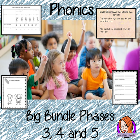 Big Phonics Bundle Complete Units of Lessons Phases 3, 4 and 5. Each unit contains 15 full lessons each with PowerPoints, lesson structure and workbook pages. Tricky sight words and high frequency words are practiced alongside the sounds and words. Audio is included to allow children to practice writing. Each lesson has silly sentences to make the learning fun. #teaching #phonics #reading #phase3 #jollyphonics #phonicslessons #lessons #phase4 #phase5