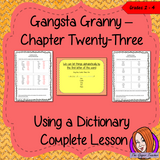 Complete Lesson on Dictionary Work - Gangsta Granny. Complete lesson on dictionary work, using the 23rd chapter of the book Gangsta Granny. Children will read and discuss the chapter, there is a PowerPoint to explain ordering alphabetically and some sample questions to practice, before they try to answer questions independently. There is also a short chapter summary sheet for children to complete to reflect on the chapter read. #lessonplans #bookstudy #teachingideas #readingactivities