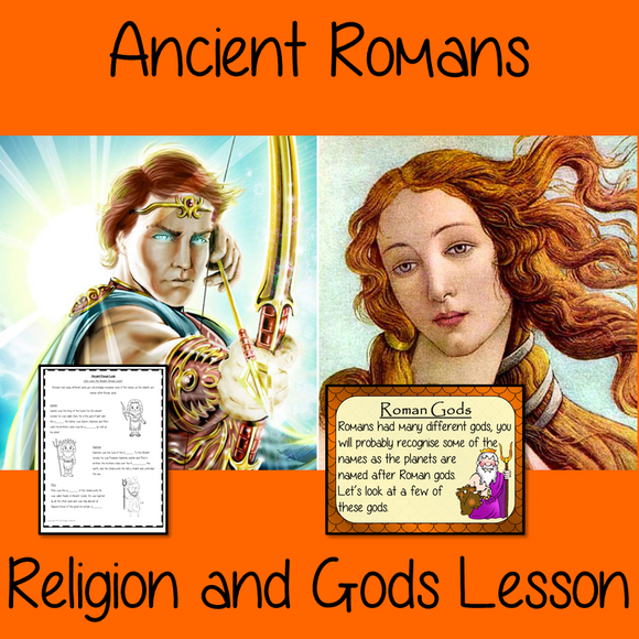 Ancient Roman Religion and Gods Complete History Lesson Teach children about Ancient Roman Religion and gods. The children will learn who the Romans worshipped and how they changed to Christianity. A 30 slide PowerPoint and four versions of the 7-page worksheet to allow children to show their understanding, along with an activity to create fact cards for the gods #lessonplanning #ancientromans #resources #historylessons #historyplanning