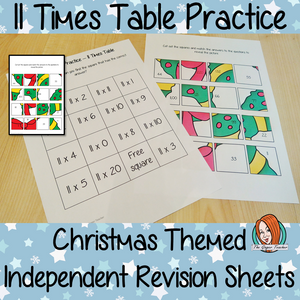 Christmas Themed Independent Multiplication Revision Sheets 11x No Prep independent revision activity for the eleven times tables. Children have to cut out and stick the correct answer to the question square, when the correct squares are all in place a christmas themed picture will be revealed. #teachmultiplication #revisemultiplication #eleventimestables #noprep #mathsworksheets