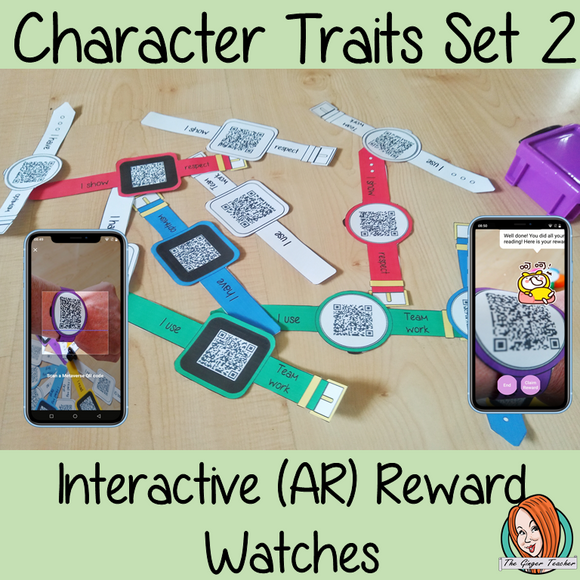 Interactive Character Traits set 2 Reward watches (Brag Tags) download the free Metaverse AR app Scan the code and a fun character will appear to congratulate the kids! Each tag has AR reward that the children collect also the option to take a reward selfie these reward watches can be printed and used in your classroom to encourage good character traits. They are great to give out to the children to create a fun classroom environment. #bragtags #rewardtag #awardtags #backtoschool