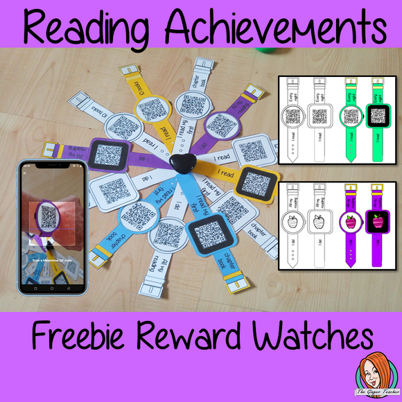 Interactive Reading Achievements Reward watches freebie download the free Metaverse AR app Scan the code and a fun character will appear to congratulate the kids! Each tag has AR reward that the children collect also the option to take a reward selfie these reward watches can be printed and used in your classroom to reward reading achievements. They are great to give out to the children to create a fun classroom environment. #bragtags #rewardtag #awardtags #backtoschool #free