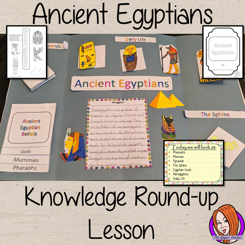 Ancient Egyptian Complete History Lesson A lesson for children about the Ancient Egyptians. Learn about pyramids, Pharaohs, mummies, gods, hieroglyphics and the Sphinx. There are two detailed PowerPoints to teach understanding. Kids create an information board using fun foldables and information sheets. Everything needed for this classroom lesson is included #lessonplanning #ancientegyptians #egyptians #teaching #resources #historylessons #historyplanning