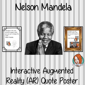 Nelson Mandela Interactive Quote Poster Augmented Reality (AR) interactive quote poster This poster can be printed and used in your classroom access the augmented reality aspects of this poster download the free Metaverse AR (augmented reality) app. Nelson Mandela will appear in your classroom to give your kids extra facts and a short video. Included are two posters one color and one black and white with AR codes for interactive content #blackhistorymonth #blackhistory #nelsonmandela