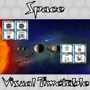 Space Classroom Visual Timetable  This download includes a fun outer space themed classroom visual timetable. These are great for teachers and kids to have a space room and to support young or SEND children with changes.  This download includes: - Timetable banner - Instructions - 76 visual timetable cards #classroomthemes #teachingideas #spaceclassroom