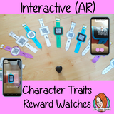 Character Traits Reward watches (Brag Tags) download the free Metaverse AR app Scan the code and a fun character will appear to congratulate the kids! Each tag has AR reward that the children collect also the option to take a reward selfie these reward watches can be printed and used in your classroom to encourage good character traits. They are great to give out to the children to create a fun classroom environment. #bragtags #rewardtag #awardtags #backtoschool