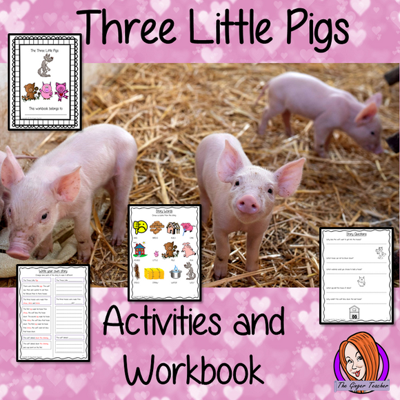 The Three Little Pigs 21 page workbook children will fill in missing words activity to help the class remember the order Side by side support page to help children rewrite the story changing parts Other activities create wanted posters answer comprehension questions, word search book review, drawing & coloring  Word bank with pictures & story scenes with characters to retell the story with props. Encourages kids to think about the story, to remember story points & to encourage own literacy