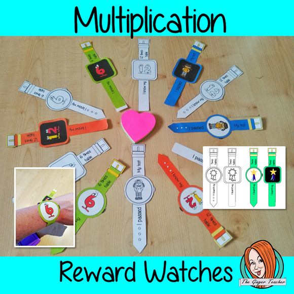 Multiplication Reward Watches  Give you class something to brag about!  These reward watches can be printed and used in your classroom to reward learning multiplication skils. They are great to give out to the children to create a fun classroom environment. There are 4 different designs of each watch, 2 round faces and 2 square, smart-watch designs. This download includes 15 different reward watches #bragtags #rewardtag #awardtags #backtoschool