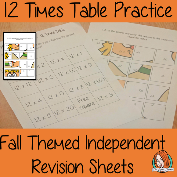 Fall Themed Independent Multiplication Revision Sheets 12x No Prep independent revision activity for the twelve times tables. Children have to cut out and stick the correct answer to the question square, when the correct squares are all in place a fall themed picture will be revealed. #teachmultiplication #revisemultiplication #twelvetimestables #noprep #mathsworksheets
