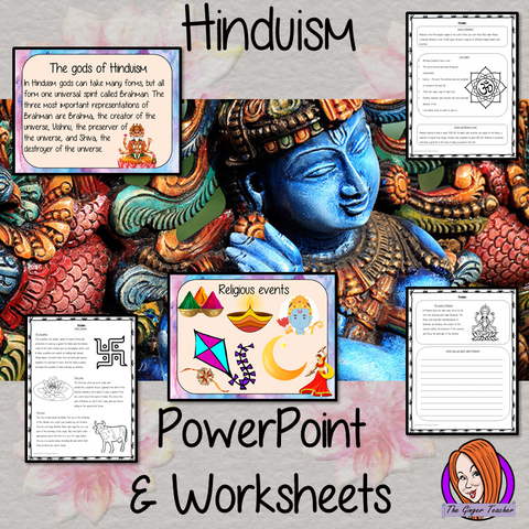 Teach kids about Hinduism!     This download teaches children about the religion of Hinduism. There is a detailed 35 slide PowerPoint on the gods, beliefs, history, symbols and religious events for Hindus. There are also differentiated, 8 page, worksheets to allow children to demonstrate their understanding. The activities are great fo religious education lessons.