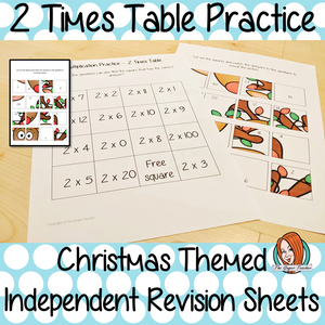 Christmas Themed Independent Multiplication Revision Sheets 2x No Prep independent revision activity for the two times tables. Children have to cut out and stick the correct answer to the question square, when the correct squares are all in place a christmas themed picture will be revealed. #teachmultiplication #revisemultiplication #twotimestables #noprep #mathsworksheets