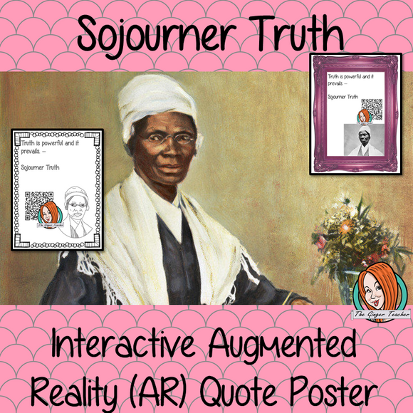 Sojourner Truth Interactive Quote Poster Augmented Reality (AR) interactive quote poster This poster can be used in your classroom access the augmented reality aspects of this poster download the free Metaverse AR (augmented reality) app. Sojourner Truth will appear in your classroom to give your kids extra facts and a chance to hear her speech. Included are two posters one color and one black and white with AR codes for interactive content #blackhistorymonth #blackhistory #sojournertruth