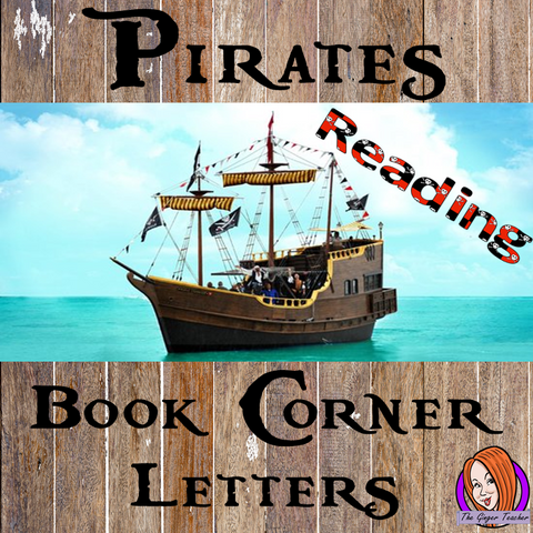 Pirate Class Book Corner Letters – Freebie!  This free download includes fun pirate themed book corner lettering for your reading corner display for your classroom. These are great for teachers and kids to have a pirate room.  #classroomthemes #teachingideas #pirateclassroom