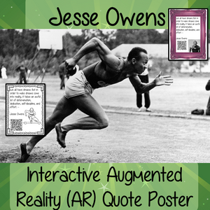 Jesse Owens Interactive Quote Poster Augmented Reality (AR) interactive quote poster This poster can be printed and used in your classroom access the augmented reality aspects of this poster, simply download the free Metaverse AR (augmented reality) app. Scan the code Jesse Owens will appear in your classroom to give your kids extra facts. Included are two posters one color and one black and white both with AR codes to scan for interactive content #blackhistorymonth #blackhistory #jesseowens
