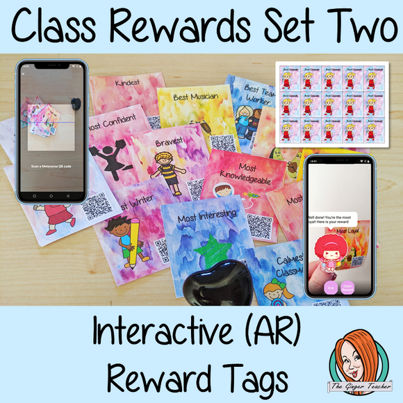 Classroom Awards interactive AR Reward Tags set two Brag tags Give you class something to brag about! These reward tags can be printed and used in your classroom for behaviour management. Children love to collect them all so they are a perfect behavior management system  although there is more to these tags than meets the eye! Scan the code and a fun character will appear in your classroom to congratulate the kids  #bragtags #rewardtag #awardtags