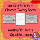 Complete Lesson on Writing Plot Twists Related to Gangsta Granny by David Walliams This download includes a complete, lesson on writing story settings based on the twenty-seventh chapter of the book Gangsta Granny by David Walliams. Children will read and discuss the chapter. There is a PowerPoint to explain plot twists with examples. Children can then plan and write their own plot twists into the story, independently. #lessonplans #bookstudy #teachingideas #readingactivities