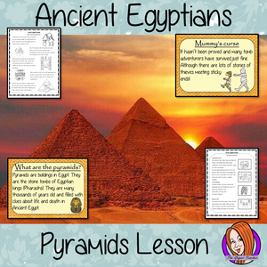 Ancient Egyptian Pyramids History Lesson Teach children about pyramids. A complete lesson to teach children about the pyramids in Ancient Egypt.  The children learn why Egyptians built them and how they were used. There is a 39 slide PowerPoint and 4 versions of the 7-page worksheet to allow children to show their understanding, an activity to draw a diagram of a pyramid. #lessonplanning #ancientegyptians #egyptians #teaching #resources #historylessons #historyplanning