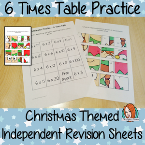 Christmas Themed Independent Multiplication Revision Sheets 6x No Prep independent revision activity for the six times tables. Children have to cut out and stick the correct answer to the question square, when the correct squares are all in place a christmas themed picture will be revealed. #teachmultiplication #revisemultiplication #sixtimestables #noprep #mathsworksheets