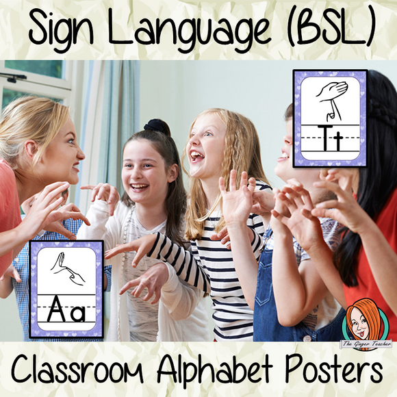 Sign Language BSL Classroom Posters 24 Posters with letters of the alphabet and the corresponding sign in British Sign Language These are great for decorating your classroom or for using as flash cards to teach children the signs for the letters. #asl #signlanguage #classroom