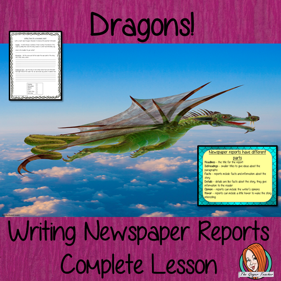 Complete Lesson on Writing Newspaper Reports on Dragons This download includes a complete, report writing lesson on dragons. The lesson focuses on how to write newspaper reports,  detailed PowerPoint to ensure understanding of elements of newspaper reports. The class will write a report then the children plan and write their own using the writing frame and success criteria for confidence when writing independently #lessonplans #teachingideas #readingactivities #newspaperreports #reports