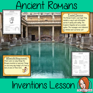 Ancient Romans Inventions Complete History Lesson Teach children about Ancient Romans and their inventions. This download is a complete lesson to teach children about the different inventions of the Ancient Romans.  practice using Roman numerals. detailed 28 slide PowerPoint and4 versions of the 6-page worksheet to show understanding an activity to draw a diagram of an Ancient Roman invention. #lessonplanning #ancientromans #romans #teaching #resources #historylessons #historyplanning
