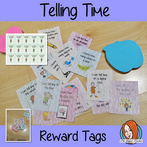 Telling Time Reward Tags brag tags learning to tell the time Give you class something to brag about! These reward tags can be printed and used in your classroom to reward your student when they learn to tell the time.  #bragtags #rewardtag #awardtags #backtoschool