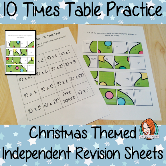 Christmas Themed Independent Multiplication Revision Sheets 10x No Prep independent revision activity for the ten times tables. Children have to cut out and stick the correct answer to the question square, when the correct squares are all in place a christmas themed picture will be revealed. #teachmultiplication #revisemultiplication #tentimestables #noprep #mathsworksheets