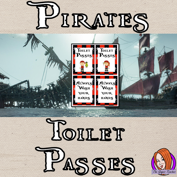 Pirate Classroom Toilet Passes This download includes a fun pirate themed toilet pass for your classroom. These are great for teachers and kids to have a pirate room and give children responsibility for their bathroom breaks. #classroomthemes #teachingideas #pirateclassroom