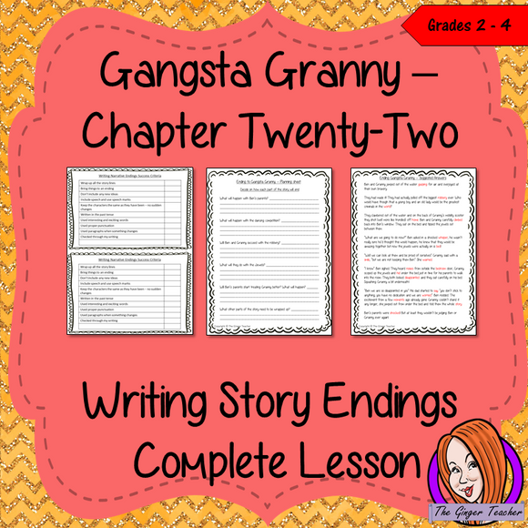 Complete Lesson on Writing Story Endings Complete, English lesson on the 22nd chapter of Gangsta Granny by David Walliams. The lesson focuses on how to plan and write our own endings to the story. Children will read and discuss the chapter. There is a planning sheet for children to decide how the story will end. The class will write narratives to show the ending and then the children will use success criteria and cloze sheets. #lessonplans #bookstudy #teachingideas #readingactivities
