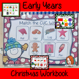 Early Years Christmas Workbook Christmas Workbook and Activities for EYFS, Kindergarten and Pre-K This maths phonics writing reading resource is 42 page book to develop children's daily skills for preschool or special needs. Learning include matching letters numbers colors There are pages to help with handwriting & reading of CVC words. Great for classroom or home learning. This is great to encourage thinking about words, numbers and colors, to help remember the alphabet