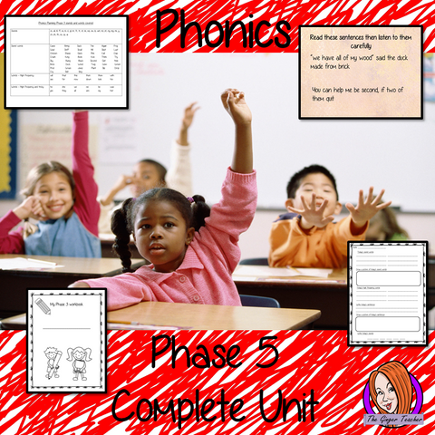 Phonics  Phase 5 Complete Unit of Lessons this download includes three weeks of phonics lessons for phase 5. Fifteen full lessons each with PowerPoints, lesson structure and workbook pages. Tricky sight words and high frequency words are practiced alongside the sounds and sound words. Audio is included in the PowerPoints to allow children to practice writing. Each lesson has silly sentences to make the learning fun. #teaching #phonics #reading #phase5 #jollyphonics #phonicslessons #lessons