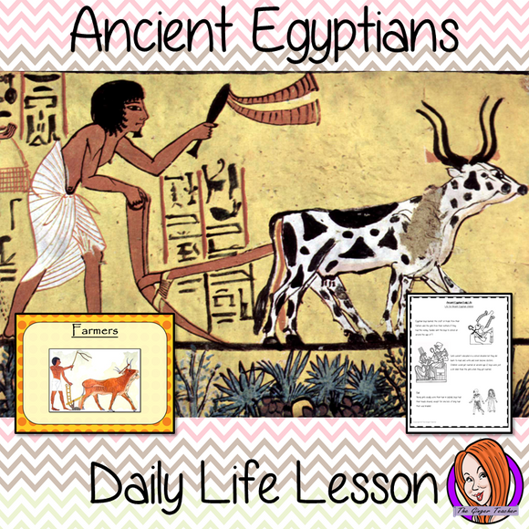 Ancient Egyptian Daily Life - Complete History Lesson This download is a complete resources lesson to teach children about the Ancient Egyptians lives.  The roles and jobs in Ancient Egyptian Society, How children lived and parts of life that were important. There is a 33 slide PowerPoint and 4 versions of worksheet to allow children to show understanding an activity to write a diary entry. #lessonplanning #ancientegyptians #egyptians #teaching #resources #historylessons #historyplanning