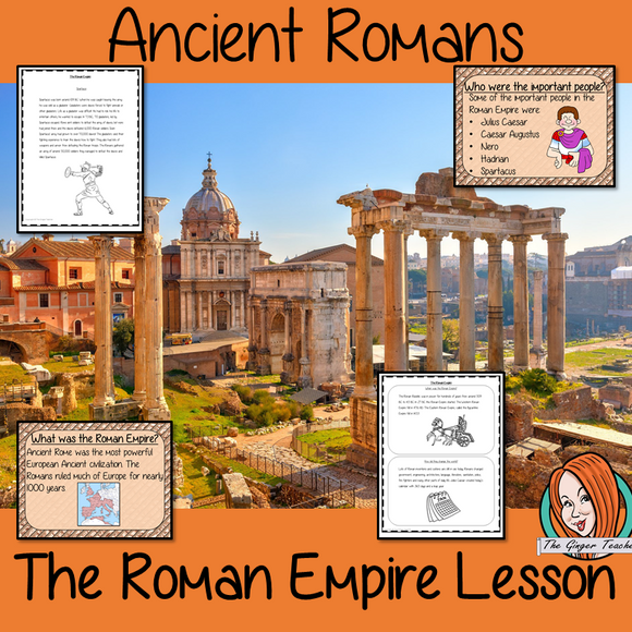 Ancient Roman Empire Complete History Lesson This download is a complete lesson to teach children about the Roman Empire.  The children will learn about what the empire was, when it was and how the Roman Empire changed the world. Some of the most important people from the Roman Empire. 32 slide PowerPoint 10-page worksheet an activity to write an explanation text on the Roman Empire. #lessonplanning #ancientromans #romans #teaching #resources #historylessons #historyplanning