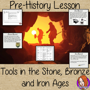 Stone Age to Iron Age tools lesson, Pre-history, Scavengers and Settlers, Cave Man