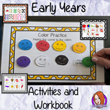 Early Years Workbook & Activities EYFS, Kindergarten This maths phonics writing reading resource is 50 page book to develop children's daily skills for preschool or special needs. Learning include matching letters numbers colors animals fruit. There are pages to help with handwriting & reading of CVC words. Great for classroom or home learning. This is great to encourage thinking about words, numbers and colors, to help remember the alphabet and encourage creative development.