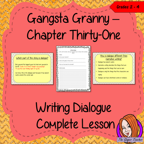 Complete, narrative writing lesson on the 31st chapter of Gangsta Granny by David Walliams. The lesson focuses on how write dialogues into texts, children will read and discuss the chapter. There is a detailed PowerPoint to ensure children's understanding of dialogue. The class will write a text then the children plan and write their own using the writing frame and success criteria to allow for confidence writing independently. #lessonplans #bookstudy #teachingideas #readingactivities